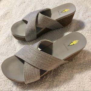 Volatile Gray Wedge Sandals, Size 9